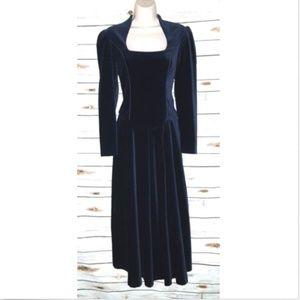 Laura Ashley Vintage Dress Velvet Victorian Blue
